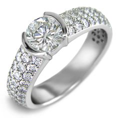 HALF BEZEL PAVE--Modern Engagement ring featuring a half-bezel head and 4mm wide band pave'' set with fine Round diamonds of G-VS2 quality weighing a total of 0.6cts.