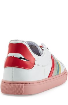 Leather Sneakers with Rainbow Stripes detail 3 http://sodafirm.com/
