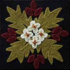 Motifs Applique Laine, Wool Applique Quilts, Wool Applique Patterns, Wool Quilts, Wool Embroidery, Felt Applique, Applique Designs, Block Patterns, Motifs D'appliques