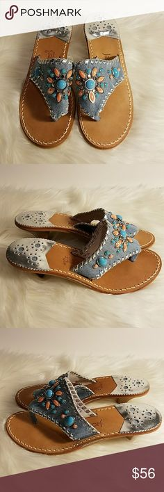 Jack Rogers Denim Embellished Kitten Heel Sandals This is a cute pair of Jack Rogers denim embellished kitten heel sandals.  The sandals feature turquoise blue and peach colored stones in a flower pattern and silver toned accents.  The sandals are new but there are marks on the sole of each shoe - one is from removing the price sticker's glue and the other is probably from shoe try-ons at the store. Sorry, no box. Jack Rogers Shoes Sandals