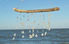 Sea Glass Wind Chime ~ Rustic Driftwood Beach Glass Windchime ~ Handmade  Wind Chime for beach nature lover, Beach House suncatcher, beachy
