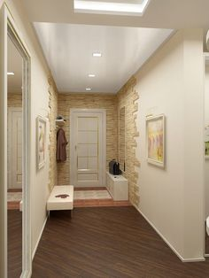 Design of a small hallway – 45 photos in a modern design Flur Design, Hall Design, Design Design, Modern Design, Contemporary Bathrooms, Modern Bathroom, White Wood Floors, Small Hallways, Interior Decorating