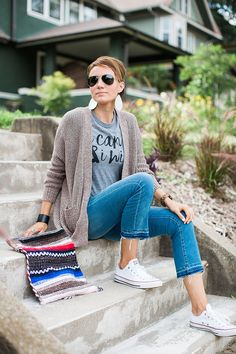 I Can & I Will T-shirt, leather earrings, converse, cropped denim, cardigan, leather cuff, wood watch.