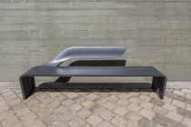 Public bench / contemporary / stainless steel / cast aluminum