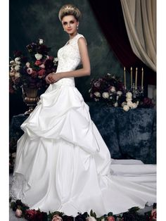 A-Line Strapless Sleeveless Embroidery & Ruched Cahtedral Train Dasha's Wedding Dress With Jacket/Shawl