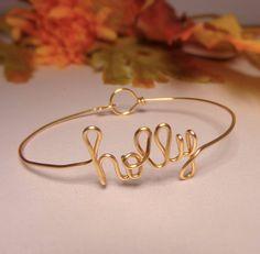 10% off Name bracelet Bridesmaidwedding by GLITTERBOXJEWELRY