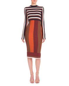 W0E6B Victoria Beckham Long-Sleeve Striped Sheath Dress, Navy/Bordeaux/White