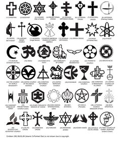 Officially Approved Government Headstone Religious Symbols, for Arlington National Cemetery and *all* National Cemeteries - while majority are going to be the basic Christian cross or Star of David, this does take into account the many different religions/sects in the United States, where after all Freedom of Religion is a basic right.