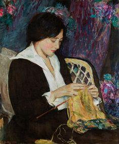 Edith Prellwitz, 'Young Woman Knitting'