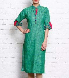Pick Indiana Green Cotton Floral print kurta by Saffronhead