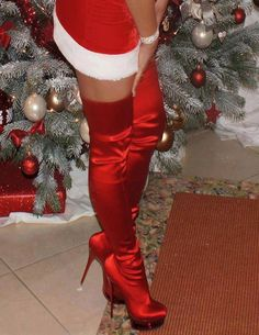 Red High Heel Boots, Red High Heels, Red Boots, Heeled Boots, Shoe Boots, Cute Shoes, Me Too Shoes, Hot Heels, Sexy Heels