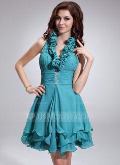 Homecoming Dresses - $126.99 - A-Line/Princess Halter Short/Mini Chiffon Homecoming Dress With Ruffle Beading Sequins (022010099) http://jjshouse.com/A-Line-Princess-Halter-Short-Mini-Chiffon-Homecoming-Dress-With-Ruffle-Beading-Sequins-022010099-g10099