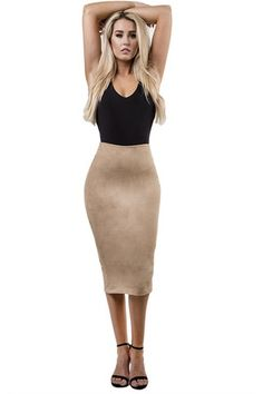 Ace of Suede Midi Pencil Skirt, Beige ~