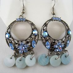 MACY'S Dangling Blue AB Rhinestone Mother of Pearl Earrings New in Jewelry Box
