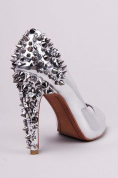 whoa - spiked silver heels