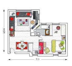 Good starting layout, could easily add bedroom to this and adjust the bath layout to be pass through serving both bedrooms. Small Apartment Ideas Blending Functionality, French Elegance and Bold Room Colors Basement Apartment, Apartment Layout, Apartment Plans, Dream Apartment, Apartment Ideas, French Apartment, Small House Plans, House Floor Plans, Small Room Design