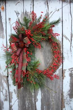 Christmas Wreath Red berries Pine Plaid by sweetsomethingdesign