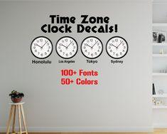 Time Zone Clock Decals City Decals Indoor Wall #housewares #homedecor @EtsyMktgTool #indoorwalldecor #homewalldecals #removablevinyl Office Wall Decals, Kids Wall Decals, Removable Wall Decals, Wall Clock Time Zones, Time Zone Clocks, Custom Car Decals, Custom Stickers, City Wall Stickers