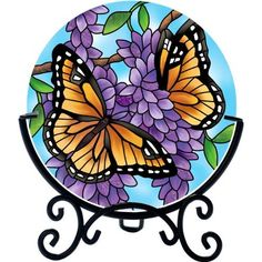 Joan Baker Design Wings/Wisteria Art Glass Tealight Holder, by Glass Painting Designs, Stained Glass Designs, Stained Glass Patterns, Stained Glass Quilt, Leaf Stencil, Floral Vintage, Glass Tea Light Holders, Glass Butterfly, Plate Art