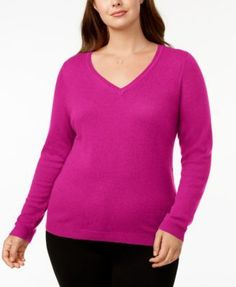 Charter Club Plus Size Cashmere V-Neck Sweater, Created for Macy's - Tan/Beige 0X