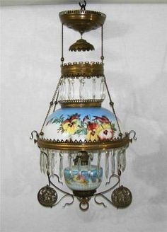 Antique Victorian Hanging Parlor Oil Lamp Pansy Decor with Cherub Frame | eBay