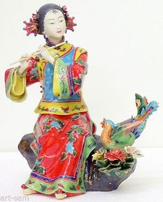 Chinese Ceramic / Porcelain Figurine Oriental Musician Lady Bird