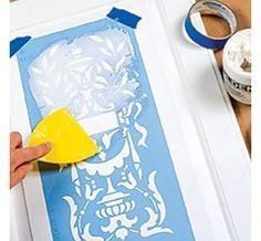 The trick to creating a relief stencil design is to apply a thin layer of crackfiller, using a paint scraper, over the top of your stencil.