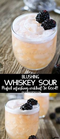 Blushing Whiskey Sour is the perfect cocktail recipe for St Patricks Day, Easter, spring or anytime you'd love a delicious whiskey drink. Great for blackberry lovers - delish. via @KleinworthCo #whiskey #blush #stpatricksday #holiday #celebrate #easter #cocktail #whiskeydrinks #beverage #drinks