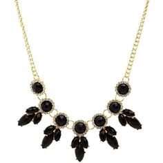 Charlotte Russe Black Faceted Stone Statement Necklace by Charlotte... ($6) ❤ liked on Polyvore featuring jewelry, necklaces, black, statement collar necklace, chain necklaces, sparkly statement necklace, chain collar necklace and statement bib necklace