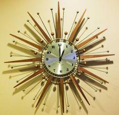 Mostly on the back ( towards the wall ). Modern Clock, Mid-century Modern, Clocks Inspiration, Sunburst Clock, Atomic Wall Clock, Condo Decorating, Decorating Ideas, Starburst Wall Decor, Cool Clocks