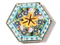 Vintage hexagonal gold tone Italian Micro Mosaic floral glass