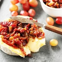 Grape & Bacon Chutney on Baked Brie. The perfect holiday appetizer!