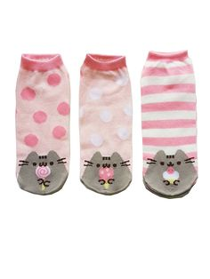 Pusheen The Cat Socks - Ladies Size 6 to10 - 3 pair at Amazon Women's Clothing store: