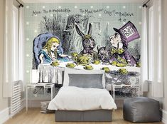 ohpopsi Alice In Wonderland Tea Party Wall Mural available to buy. Only including FREE delivery to the UK. Alice And Wonderland Tattoos, Alice In Wonderland Characters, Alice In Wonderland Tea Party, Bedroom Wallpaper Murals, Wall Murals, New Theme, Photo Wallpaper, Interior Inspiration, Bedroom Decor