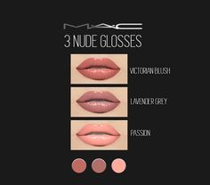 """3 Nude Glosses"" (Slightly overlined) by MAC (HQ... - Cosimetics"