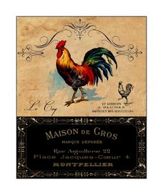 country rooster kitchen decor. Print  French Country Rooster Colorful with label Kitchen Art kitchen Decor 8x10 by MomentsOfArt