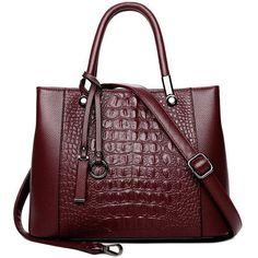 2018 New Fashion Genuine Crocodile Handbags Casual Tote Crossbody Bags for Women Shoulder Bag Genuine Leather Bags for Women - red Crocodile Handbags, Black Shoulder Bag, Shoulder Purse, Leather Handbags, Leather Bags, Leather Craft, Real Leather, Luxury Handbags, Cross Body Handbags