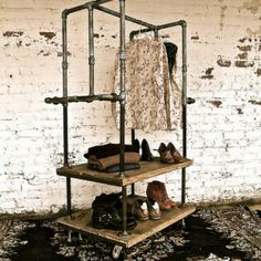 Box Cart Industrial Pipe Garment Rack industrial clothes racks & 9 best Clothes storage images on Pinterest | Clothing racks ...