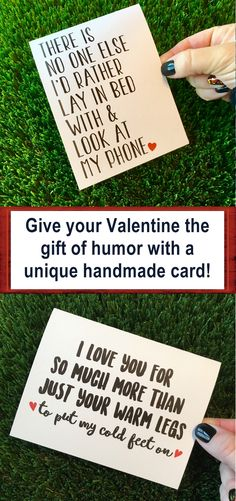 Give the gift of humor this Valentine's Day with a unique handmade card! O love these real life cards! There's no one else I'd rather lay in bed with and look at my phone. I love you for so much more than just your warm legs to put my cold feet on. #truelove #valentinesday #valentine #love #card #afflink