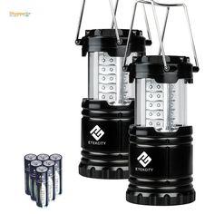 Etekcity 2 Pack Portable Outdoor LED Camping Lantern with 6 AA Batteries (Black, #Etekcity