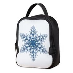 Blue Snowflake Neoprene Lunch Bag > Lunch Bags > Atteestude T-Shirts And Gifts  #school supplies