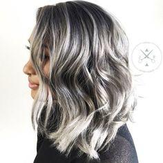Medium Black Hair With Silver Highlights. Silver and grey highlights on black hair Dark Grey Hair, Grey Wig, Silver Grey Hair, White Hair, Dark Brown, Dying Hair Grey, Grey Hair Dye, Silver Ombre, Brown Skin