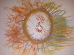 """Schrijfdans """"leeuw"""". Maak onder begeleiding van muziek een cirkel van bordkrijt, daarna de manen van de leeuw door strepen te trekken vanaf de cirkel. Als je klaar bent kan je de manen van de leeuw uitwrijven en zijn gezicht tekenen."""