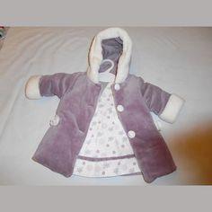 ensemble bébé fille  manteau violet + robe à fleurs violet