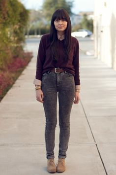 Visionary Dreams: Desert Plums  merino wool sweater: secondhand / button up shirt: gap / embroidered belt: vintage / second skin acid wash jeans: cheap monday / desert boots: report