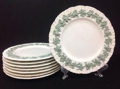 "Wedgwood Queensware Celadon Green-on-Cream Shell Edge EIGHT 10.5"" Dinner Plates #Wedgwood"