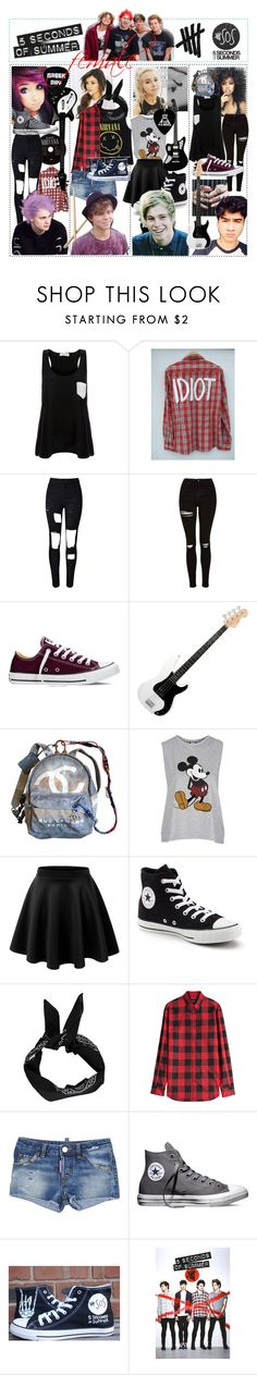 """5 Seconds of Summer - Female"" by mariiia-hale on Polyvore featuring Solid & Striped, WithChic, Topshop, Converse, Chanel, Edition und Dsquared2"