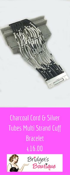Charcoal Cord & Silver Tubes Multi Strand Cuff Bracelet