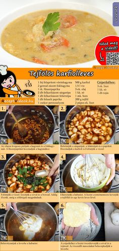 Blumenkohlsuppe mit Sauerrahm – SUPPEN Rezepte mit Videos, mit Rezeptkarten – Cauliflower soup with sour cream – SOUPS Recipes with videos, with recipe cards – Vegetarian Recipes, Cooking Recipes, Healthy Recipes, Easy Delicious Recipes, Yummy Food, Cream Soup Recipes, Foil Pack Meals, Hungarian Recipes, Cauliflower Soup