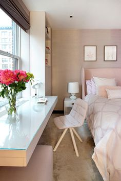 Pale pink neutral bedroom | Turett Collaborative Architects